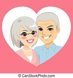 personne agee, valentin, couple marié, coeur