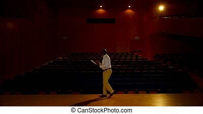 personne agee, vide, africaine, pratiquer, auditorium,...