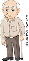 personne agee, vieux, dessin animé, homme âgé