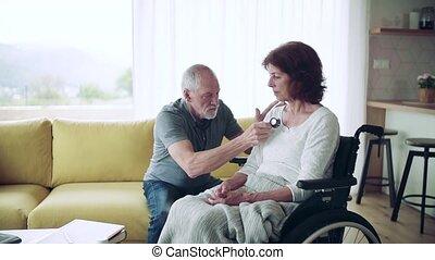personne agee, visit., pendant, santé, fauteuil roulant, ...