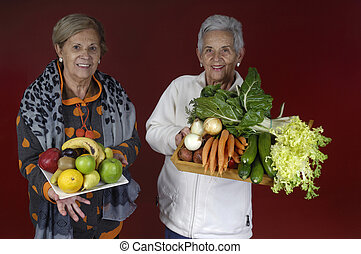 personne agee, womanwith, légumes, fruits