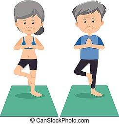 personne agee, yoga, fond blanc