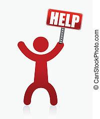 personne, aide, icône