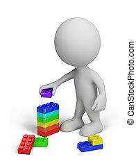 personne, blocs jouet, 3d, plastique