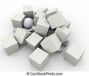 personne, boîtes, cubes, 3d, couvert