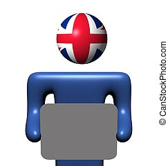 personne, britannique, tenue, signe