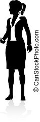 personne, business, silhouette