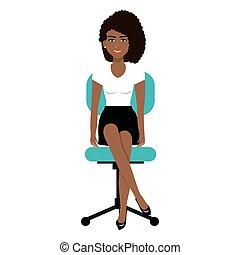 personne, chaise, bureau, business, séance