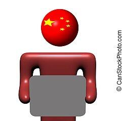 personne, chinois, tenue, signe