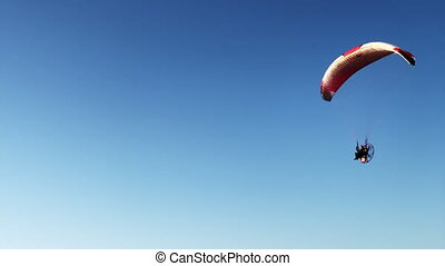 personne, ciel, paraglider, anonyme, voler