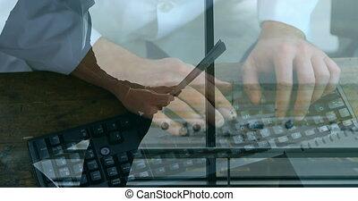 personne, clavier, homme affaires, contre, aéroport, journal...