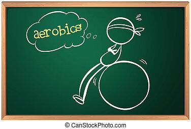 personne, croquis, planche, aérobic