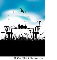personne, dîner, romantique, deux