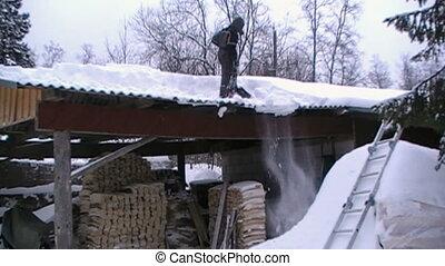 personne, dehors, neige, toit, obtenir