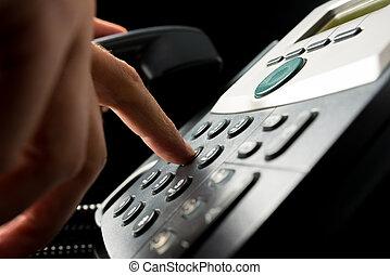 personne, dehors, téléphone, composer, landline