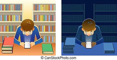 personne, entouré, smartphone, bibliothèque, night., vecteur, étagères, papier, coloré, lecture, illustration, isolé, app, e-reader, jour, books., fond, jeune
