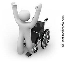 personne, fauteuil roulant, guéri, levée