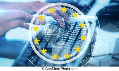 personne, globe, numérique, étoiles, européen, contre, composite, jaune, vidéo, union, tourner, dactylographie