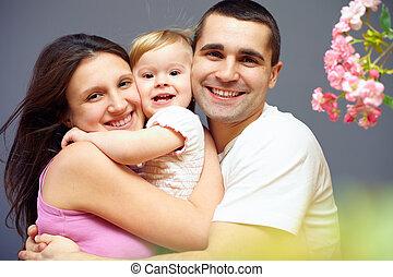 personne, heureux, trois, famille, embrasser