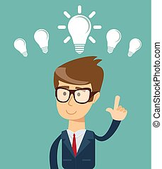 personne, idée lumineuse, business, avoir