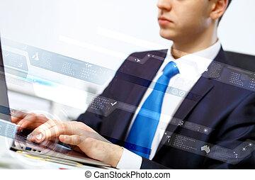 personne, informatique, business, fonctionnement