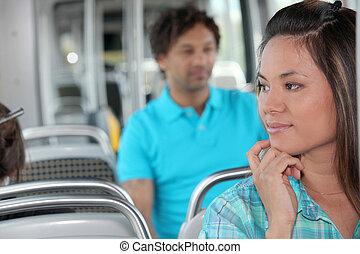 personne, jeune, autobus