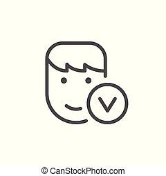 personne, ligne, contour, approuvé, icône
