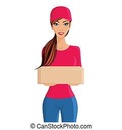 personne livraison, portrait femme