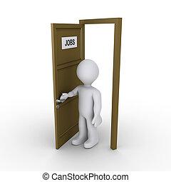 personne, métier, porte, trouver, ouverture