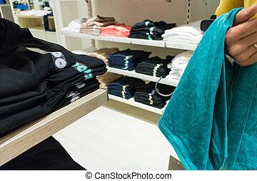 personne, magasin, vêtements, unrecognizable
