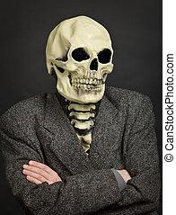 personne, masque, squelette, portrait