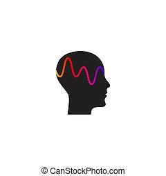 personne, mental, vague, activité, cerveau, profil