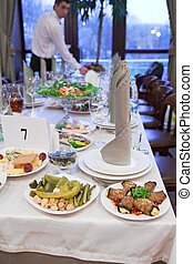 personne, monture, unrecognizable, table, restaurant