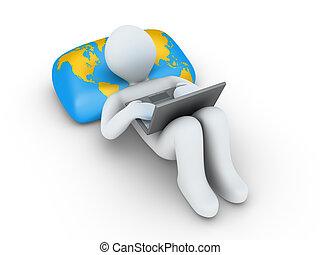 personne, ordinateur portable, brouter, internet