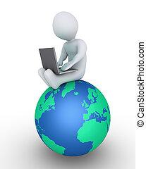 personne, ordinateur portable, globe