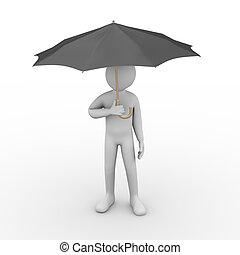personne, parapluie, noir, 3d, sous