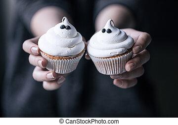 personne, petits gâteaux, halloween, tenue