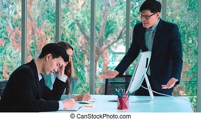 personne, problème, conflit, travail, groupe, fâché, réunion affaires