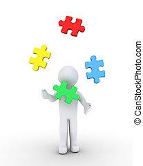 personne, puzzle, jonglerie, morceaux