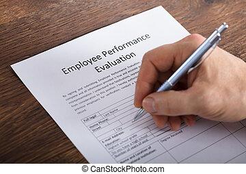 personne, remplissage, évaluation, formulaire, performance