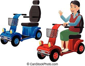 personne, scooters, mobilité, plus vieux