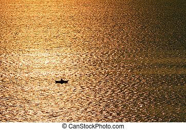 personne, silhouette, perdu, océan