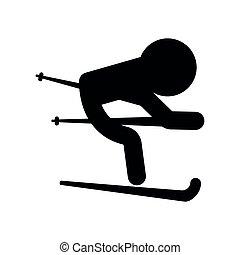 personne, ski, isolé, icône