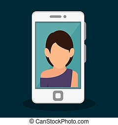 personne, smartphone, icône