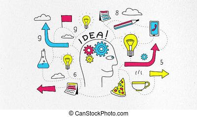 personne, tête, apparition, idée, créatif