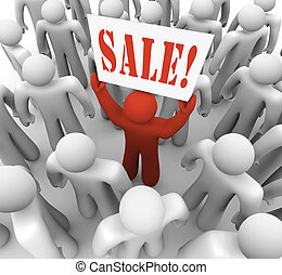 personne, tenue, signe vente, dans, foule, publicité, économies