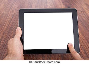 personne, tenue, tablette, numérique