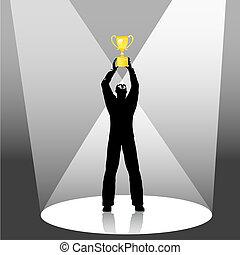 personne, tient, trophée, haut, dans, projecteur