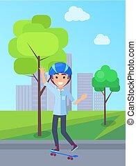 personne, vecteur, parc, illustration, skateboarding