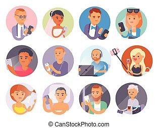 personne, vie, occupé, réseau, tablette, gens, communication, ordinateur portable, moderne, ou, gadgets, téléphone, connexion, lifestyle., computer., ligne, utilisation, problème, concept., intelligent, social